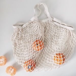 LAST ONE Cream Net French Market Tote